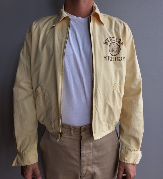 1950s Champion Pale Yellow Western Michigan College University Jacket
