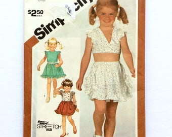 Simplicity 5909, Girls' Skirt and Top Pattern , Size 4, 5, 6, Vintage Uncut Pattern