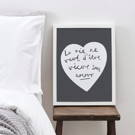 A4 French Love Heart Print - French Print - French home decor - love print - romantic French quote