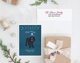 Dog Holiday Card Set with Pet Portrait, Gold Holiday Card, Dog Christmas Card, Gold Christmas Card - DESIGN FEE only