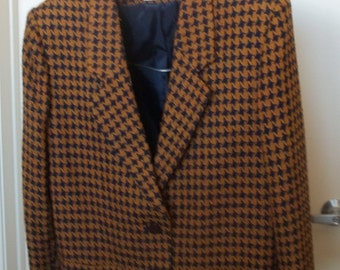 1980s wool gold and black houndstooth check jacket