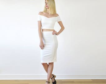 Audrey Off Shoulder Two Piece Set. Ladies Stretch Crop Top and Stretch Pencil Skirt Co Ords Set in White