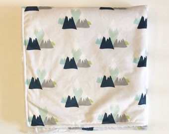 Mountain adventure minky baby blanket - faux fur - silver gray navy blue mint aqua citron - woodland nature nursery - boy baby shower gift