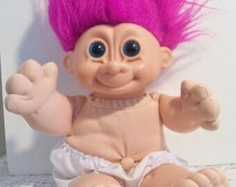 Fuschia Hair Blue Eyes Soft Troll Doll Russ Berrie Toy Purple Pink