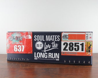 Running medal holder and race bib hanger -  Soul Mates in it for the long run - or Sole Mates