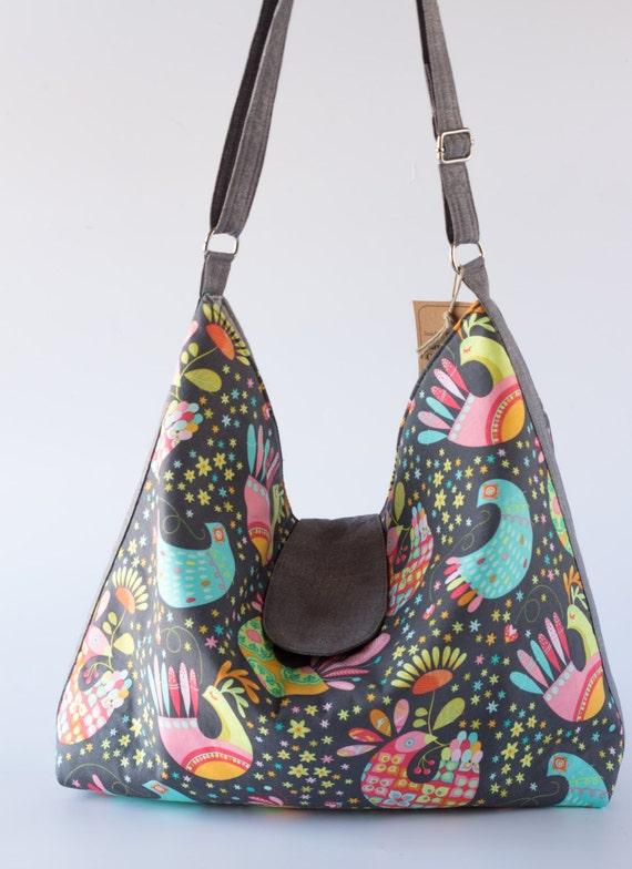 Birds and Flowers Large Hobo Bag, Large Slouchy Bag, Large Tote Bag, Large Crossbody Bag, Gray Cotton Fabrics, Handmade