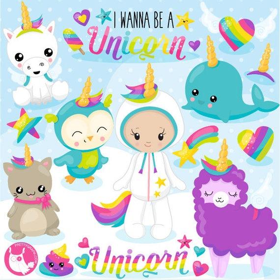 80% OFF SALE  Unicorn clipart commercial use, I wanna be a unicorn vector graphics, kawaii digital clip art, digital images  - CL1078