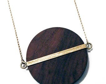 Wood necklace, brass necklace, statement necklace, long chain, black and gold necklace, mother's day gift, 5th anniversary, wood anniversary