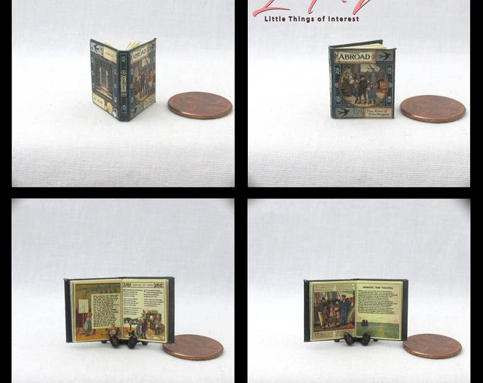 1:12 Miniature Dollhouse Doll ABROAD Book PDF and Tutorial Printie for Dollhouse Scale Readable Illustrated Book Miniature Accessory
