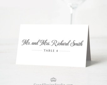 Script Tented Wedding Escort Cards - Reception Place Card - Script, Classic, Elegant, Simple - Wedding Seating Cards - Blank or Personalized