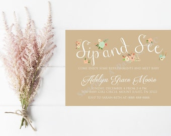 Sip and See Invitation Girl - Floral Sip and See - Baby Shower Invitation Girl - Baby Sprinkle Invitation - Welcome Baby Invitation