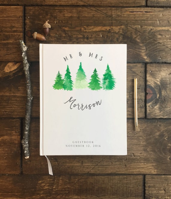 Winter Wedding Guest Book. Watercolor Trees Guest Book.