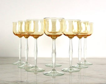 Amber Crystal Wine Glasses, White Wine Glasses, Wine Goblets,  Optic Glass, Pale Yellow,