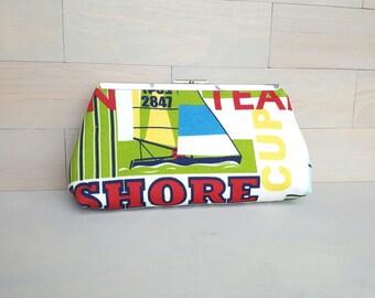 Nautical Clutch, Sail Clutch, Clutch Purse, Beach Handbag