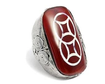 Carnelian Silver Boho Ring