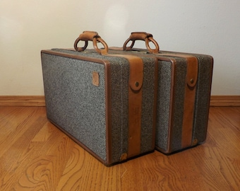 "Hartmann Luggage ~ Suitcase ~ 21"" x 12"" ~ 1970's ~ Classic Tweed with Leather Binding ~ Soft Sides"