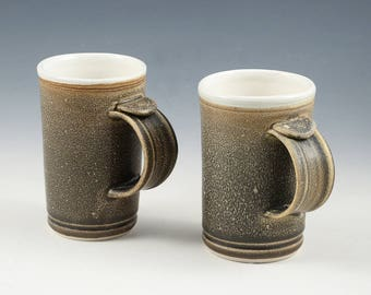 Demi Mug Pair - Old Leather brown coloring, beautiful satin glaze finish.
