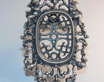 F3 Antique French Original Art Nouveau Ornate Cherubs Royal Small Photo Picture Frame Stand Alone Desk Piece Decor Sterling Silver 925
