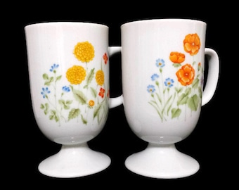 Pedestal Mugs 2 Flowered Irish Coffee Mugs Yellow Orange Floral Footed Cups Poppy Garden