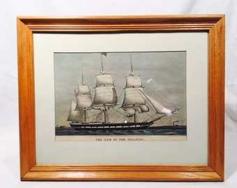 Vintage Currier & Ives reprint, The Travelers Insurance Co. 1965, 'The Gem of the Atlantic', Ship art, Boat art,