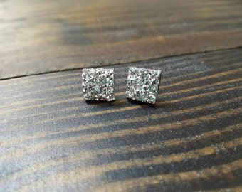 Silver Square Chunky Faux Druzy Stud Earrings - 12mmx12mm
