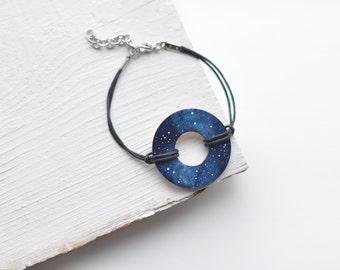 Handprinted bracelet Сhristmas gift Galaxy Blue Space jewelry Wooden Nebula Black friday sale  Favor Bridal wedding For sister