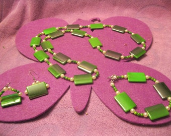 CHRISTMAS GREEN METALIC Jewelry Set