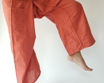 TC8012 Handmade Thai Fisherman Pants Wide Leg pants, Wrap pants, Unisex pants