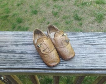 Antique Victorian Baby's Leather Tan Shoes with 2 Button Closure, Leather Soles, 4 & 3/8 Inches Long, Late Victorian, Steampunk Shoes