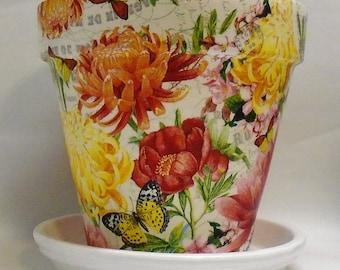 "Made To Order, Handmade Decoupage Terra Cotta Clay Pot, Chrysanthemums, Floral, Butterflies,  8.25"""