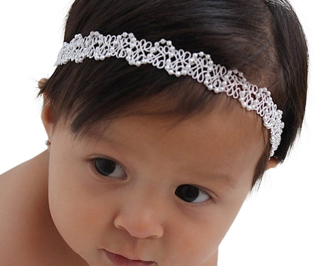 Featured listing image: White Baby Headband, Pearl Baby Headband, Halo Headband, Infant Headbands, Baby Headband, Newborn Headband, Headbands For Babies, Baby