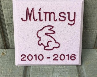 Mini Memorial for Your Bunny Rabbit * Custom Engraved Pet Headstone  * Grave Marker Cemetery Stone
