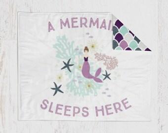 Mermaid Baby Girl Quilt & Fitted Sheet, Mermaid Girl Crib Set, Baby Bedding, Girl Crib Bedding, Baby Girl Crib Set, Mermaid Theme Nursery