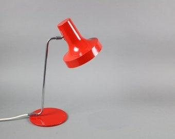 Vintage red German desk lamp gooseneck lamp Hustadt classic 70s style orange lamp stand Mid Century Modern table lamp bedside lamp metal