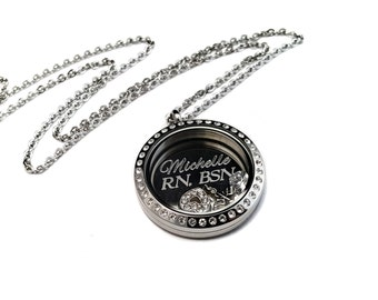 Nurse locket - Nursing Student Locket Necklace - Nurse Jewelry- Gift for her - Nurse necklace