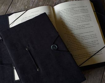 Extra large book cover, hands-free book holder trade size, black microsuede, hide my book, gift for readers, arthritis help, reading aid