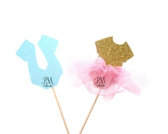 12 Glitter Gender Reveal Cupcake Toppers - Baby Shower cupcake toppers, Gender reveal cupcake toppers, Baby Shower Decor, He or She