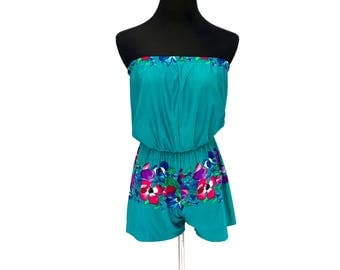 70's vintage teal tropical hibiscus floral printed strapless romper playsuit onesie SMALL