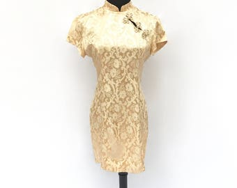 90's vintage beige neutral gold satin floral embroidered traditional Asian oriental high neck cheongsam shift mini dress MEDIUM