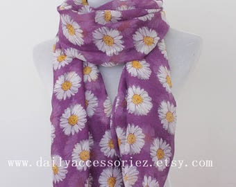 Daisy Scarf, Purple Flower Floral Scarf, Spring Summer scarf, Womens Scarves, Gift For Her, Handmade Scarf, Gift For Mother, Moms Gift