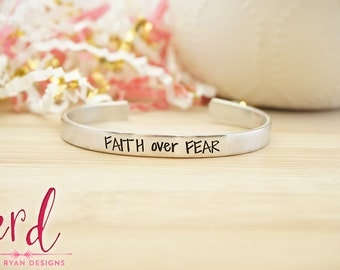 Faith Over Fear Cuff Bracelet - Bible Jewelry - Religious Jewelry - Religious Bracelet - Faith Jewelry - Silver Hand Stamped Cuff