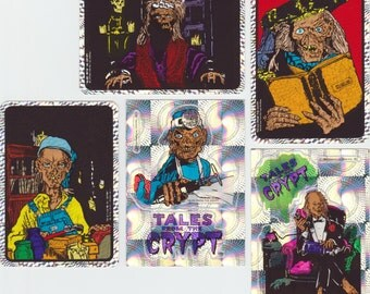 Tales From The Crypt Prism Sticker Set - Vintage vending machine stickers, NOS, Comic Books, Horror, HBO, Crypt Keeper, TV, Skeleton