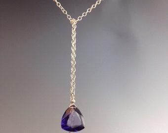 """Tie lariat necklace, purple Quartz, Trillion cut stone, sterling necklace, purple pendant, purple girl, bridal jewelry,""""Clear Royal lariat"""