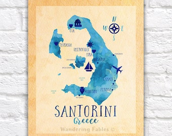 Santorini Map, Greece, Thira, Map of Santorini Greece, Honeymoon, Greek Island, Trip, Cyclades Islands, Greece Honeymoon, Oia | WF395
