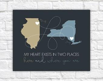 Heartfelt Gift for Boyfriend, Long Distance Relationship Maps, State Maps, Long Distance Relationship Quotes, Birthday Gift Decor  | WF578