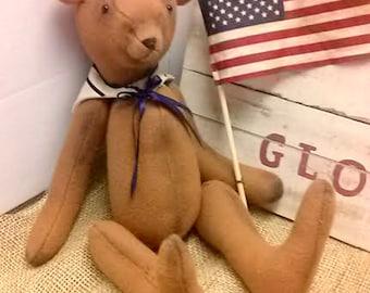 Sailor Bear Wool Bear Military Bear Patriotic Bear Americana Bear With Flag Jointed Teddy Bear