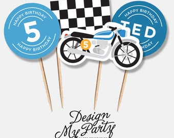 Motorbike Cupcake Toppers (Personalised DIY Printables)