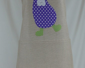 Apron handmade, gift for her, eggplant dancing appliqué