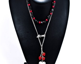 CLEARANCE :  Valentines Red and Black Love Pendant Heart Necklace