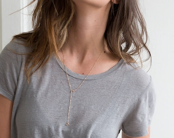 Delicate Lariat Necklace 14k Gold Fill, Sterling Silver or Rose Gold Fill / Ultra Minimal Drop Necklace / FALLING CIRCLES Layered Long LN811